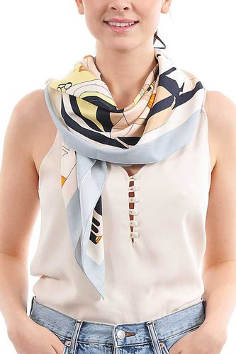 Fashion color block print silky scarf-id.cc52040