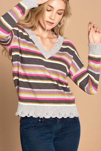 Multi-colored variegated striped knit sweater-id.cc52050a