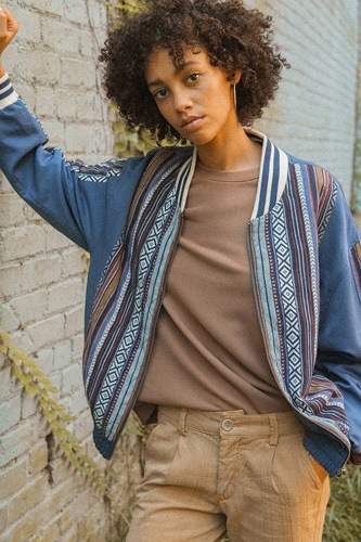 A woven jacket that features tribal striped accents-id.cc52051