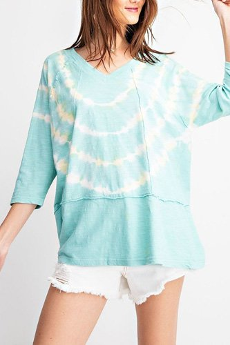 3/4 sleeves special washed boxy cotton slub top-id.cc52059