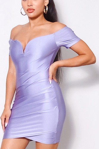 Off shoulder v front gathered bodycon mini dress-id.cc52065a