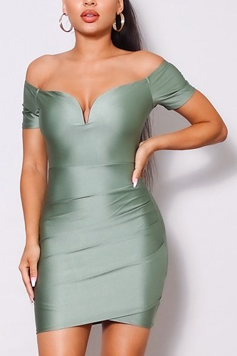 Off shoulder v front gathered bodycon mini dress-id.cc52065d