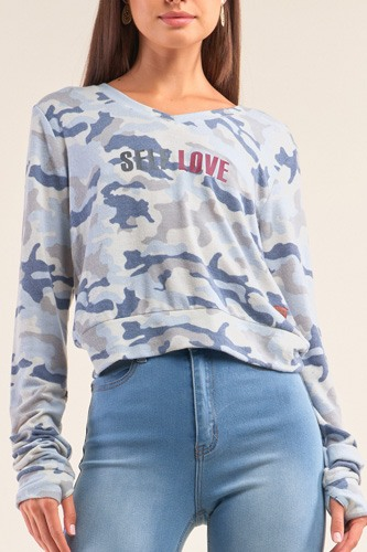 Camo blue long sleeve v-neck