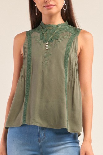 Forest green sleeveless crochet embroidered hem pleated babydoll top-id.cc52070