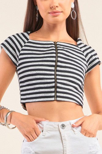 Black and grey striped square neck mini sleeve cropped top-id.cc52072