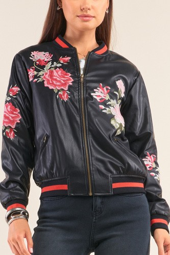 Rosa black vegan leather floral embroidery striped hem bomber jacket-id.cc52073