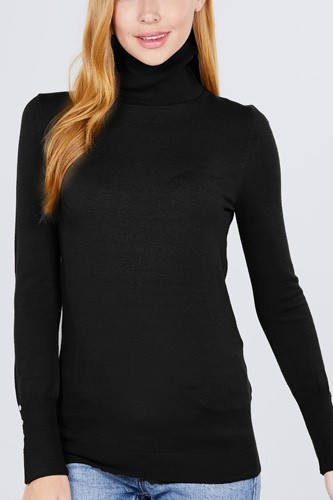 Long sleeve with metal button detail turtle neck viscose sweater-id.cc52076