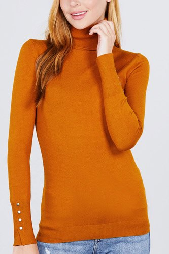 Long sleeve with metal button detail turtle neck viscose sweater-id.cc52076a