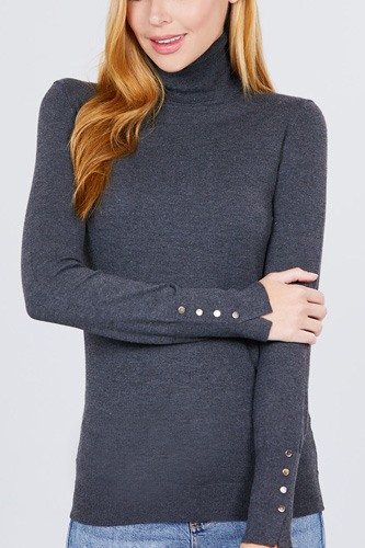 Long sleeve with metal button detail turtle neck viscose sweater-id.cc52076b