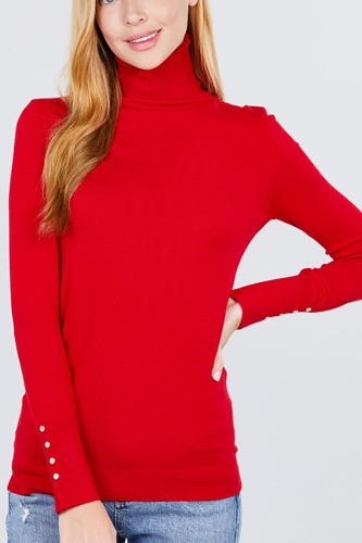 Long sleeve with metal button detail turtle neck viscose sweater-id.cc52076c