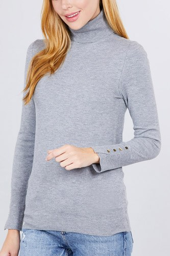 Long sleeve with metal button detail turtle neck viscose sweater-id.cc52076d