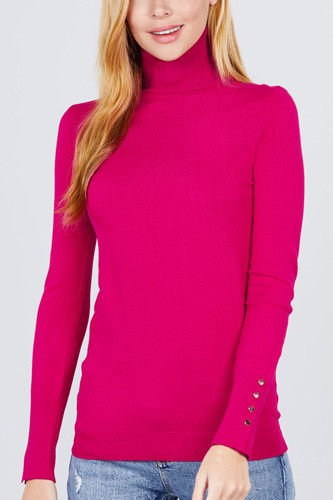 Long sleeve with metal button detail turtle neck viscose sweater-id.cc52076e