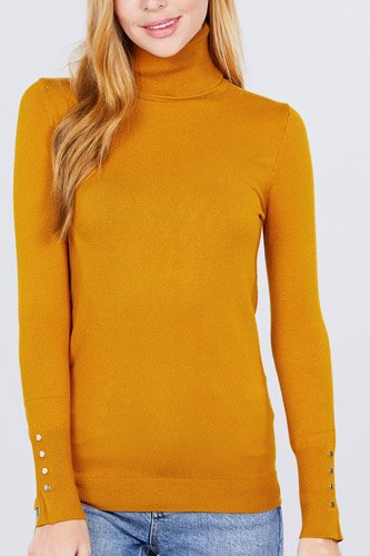 Long sleeve with metal button detail turtle neck viscose sweater-id.cc52076g