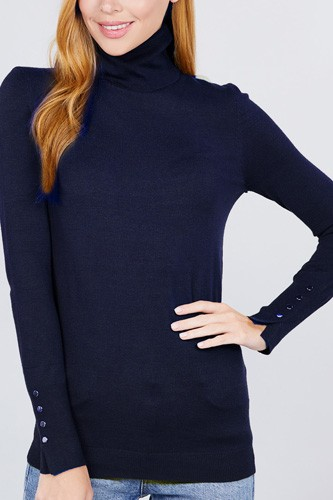 Long sleeve with metal button detail turtle neck viscose sweater-id.cc52076h