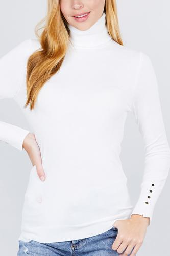 Long sleeve with metal button detail turtle neck viscose sweater-id.cc52076i