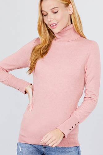 Long sleeve with metal button detail turtle neck viscose sweater-id.cc52076k