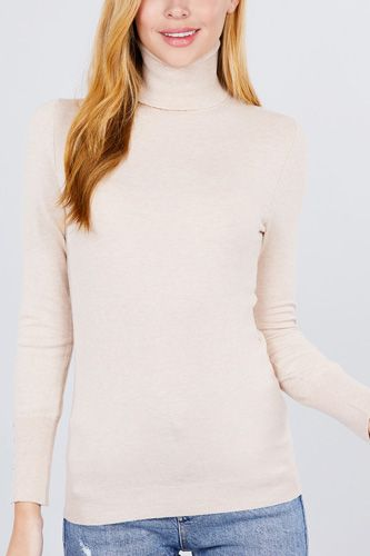 Long sleeve with metal button detail turtle neck viscose sweater-id.cc52076l