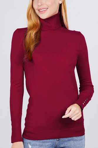 Long sleeve with metal button detail turtle neck viscose sweater-id.cc52076m