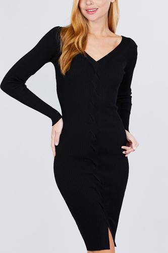 V-neck twist detail sweater dress-id.cc52078