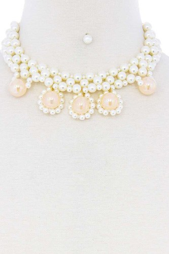 Chunky rose pearl deco choker necklace-id.cc52092