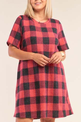 Plus size checkered round neck short sleeve sweater mini dress-id.cc52153a