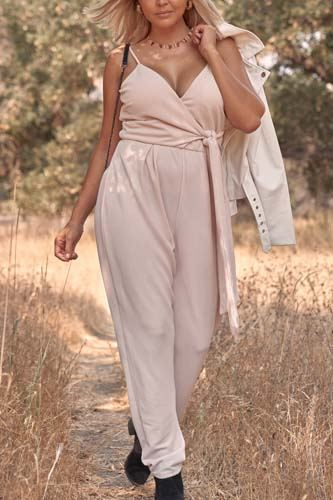 Plus size stone blush pink sleeveless self-tie wrap detail deep plunge v-neck jumpsuit-id.cc52156