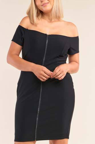 Plus size fitted off-the-shoulder front zipper bodycon mini dress-id.cc52158