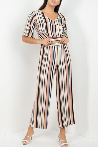 Stripped scoop neck top wide leg pants set-id.cc52163