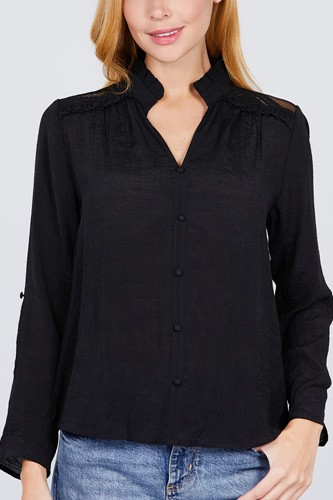 V-neck button down woven top-id.cc52170