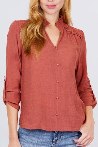 V-neck button down woven top-id.cc52170b