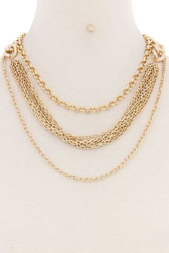 Layered metal multi chain necklace-id.cc52175