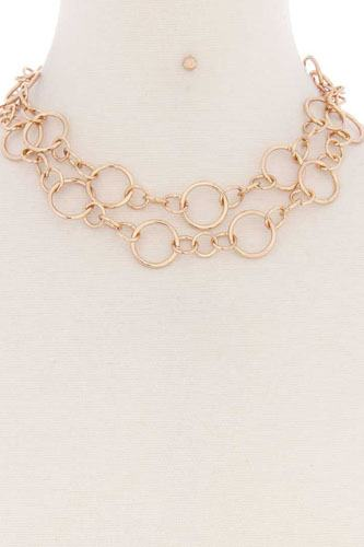 Multi metal ring chain necklace-id.cc52180