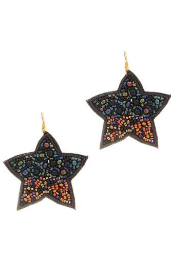 Seed beaded star hook earring-id.cc52185