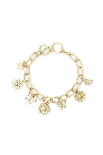 Fashion flower and butterfly dangle bracelet-id.cc52187
