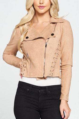 Faux suede moto leather jacket-id.cc52304