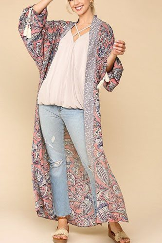 Mix-printed open front kimono with side slits-id.cc52306