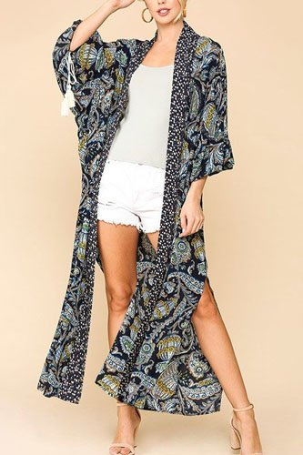 Mix-printed open front kimono with side slits-id.cc52306a