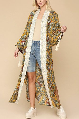 Mix-printed open front kimono with side slits-id.cc52306b