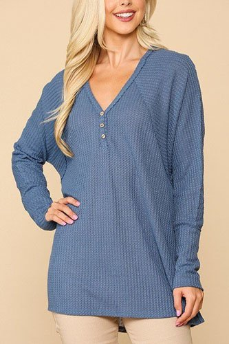 Waffle knit and woven print mixed hi low flowy tunic top-id.cc52307b