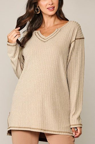 Two-tone rib tunic top with side slits-id.cc52308b