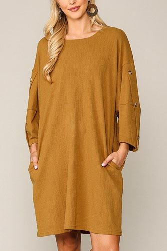 Textured button accent puff sleeve side pockets shift dress-id.cc52309
