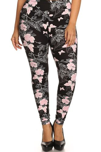 Plus size super soft peach skin fabric, butterfly graphic printed knit legging-id.cc52346