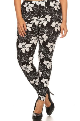 Plus size floral pattern printed knit legging with elastic waistband-id.cc52347