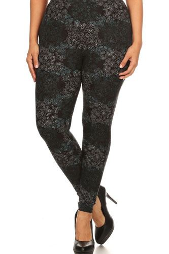 Plus size floral medallion pattern printed knit legging with elastic waistband-id.cc52348
