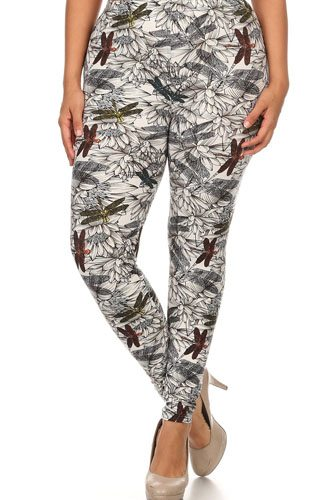 Plus size dragonfly print, full length leggings in a fitted style with a banded high waist-id.cc52350