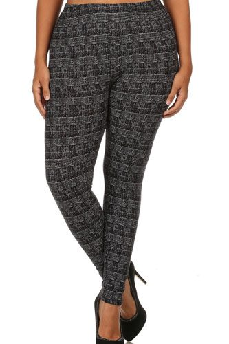 Knit, pattern print, full length leggings with elastic waist-id.cc52351