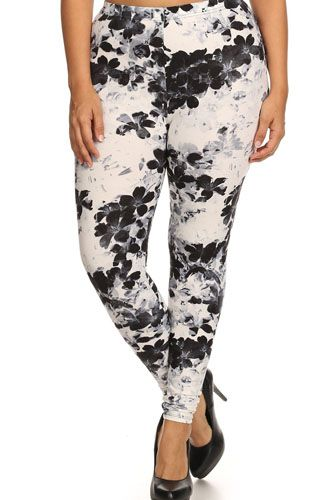 Super soft peach skin fabric, floral graphic printed knit legging-id.cc52352