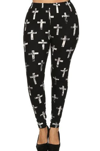 Plus size cross print, high waist, lined leggings-id.cc52353