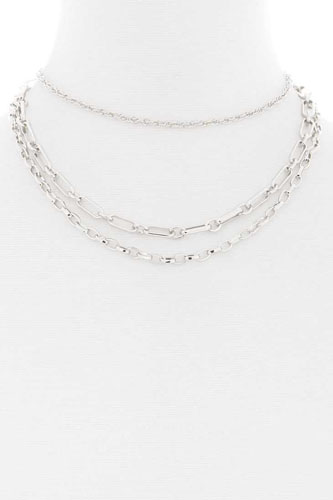 3 layered metal chain necklace-id.cc52357