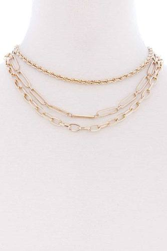 3 layered multi metal chain necklace-id.cc52361